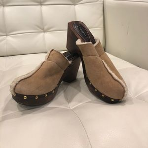 DOLCE & GABBANA leather/ wool/wood clogs